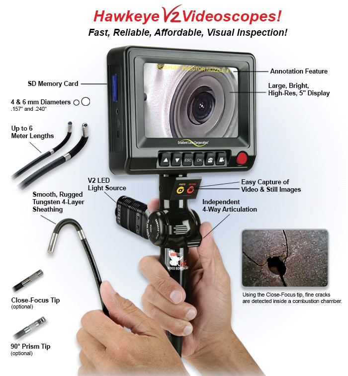 Optimax Hawkeye V2 Video Borescope with display screen Overview